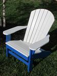 Adirondack Chair, Poly, White & Blue